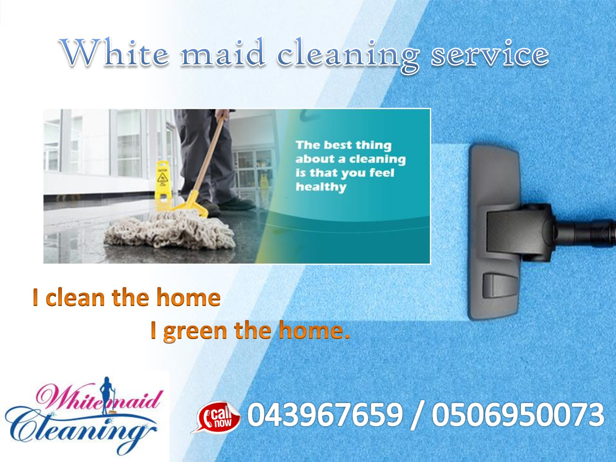 I clean the home. I green the home. A messy office will negatively affect productivity. Allow us to tidy up your work space for you. With our commercial or office cleaning services, you will have a spotless and orderly office in no time! We are here to help you maintain a clean and healthy office that will improve productivity, and reflect your commitment for high-quality service towards your clients. You call, we clean! Give us a call for more details! 0506950073 / 043967659 for more…