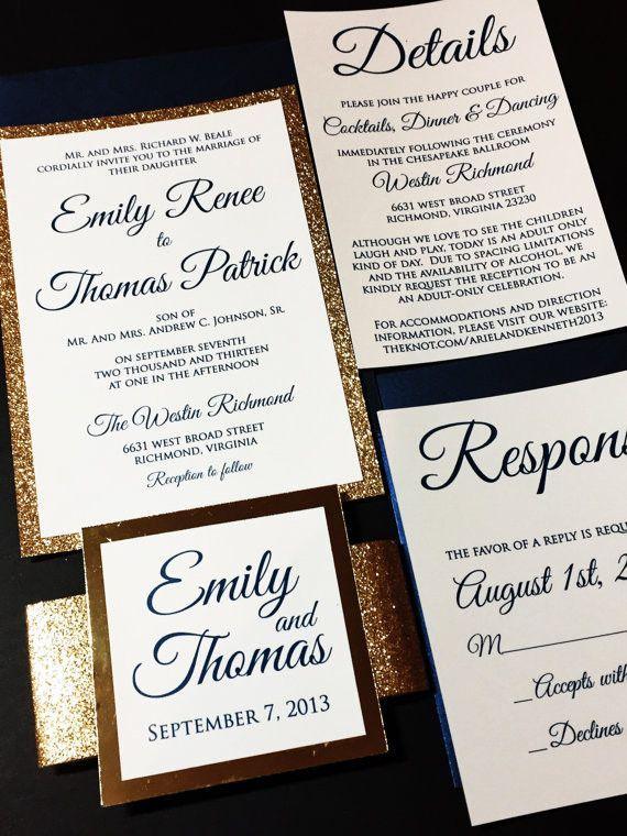 Navy and Gold Glitter Wedding Invitation, Luxury Wedding - formal dinner invitation sample