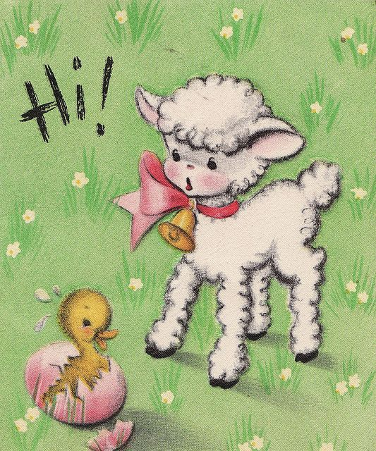 Vintage Greeting Cards Easter Chick And Lamb