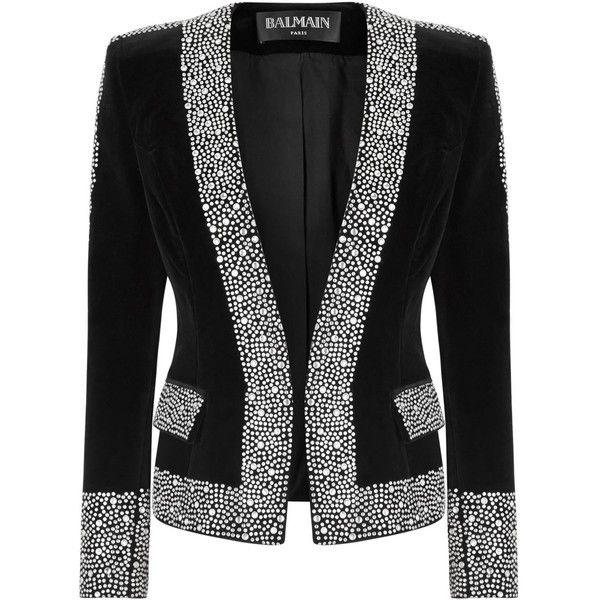 c4ec268b Womens Evening Jackets Balmain Black Crystal-embellished Velvet Jacket  ($2,940) ❤ liked on Polyvore featuring outerwear, jackets, balmain, evening  jacket, ...