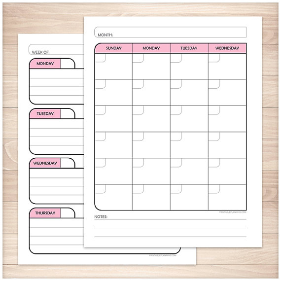 Printable Blank Calendar Planner Pink - Monthly Weekly Facing Pages