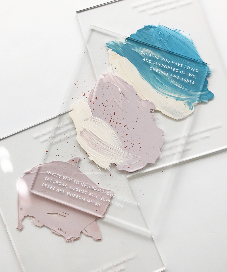 Wedding Stationery Inspiration Hand Painted Acrylic