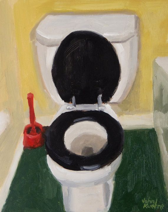 Toilet Original Oil Painting By