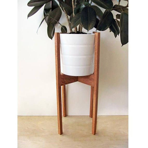 Our Large Modern Plant Stands Are Handmade From Red Oak Hardwood And Made Using Dowel Construction Methods For Strength Durability