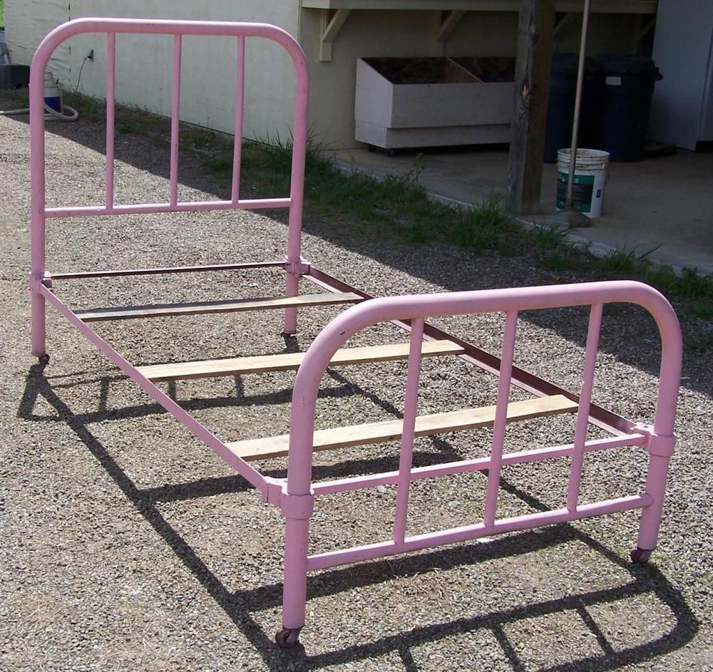 Old Antique Wrought Iron Metal Bed Frame With Rails Twin