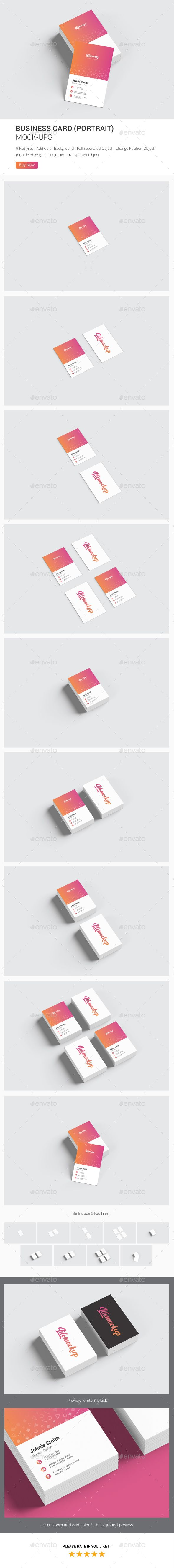 Business Card Portrait Mockup Mockup Business Cards And Business