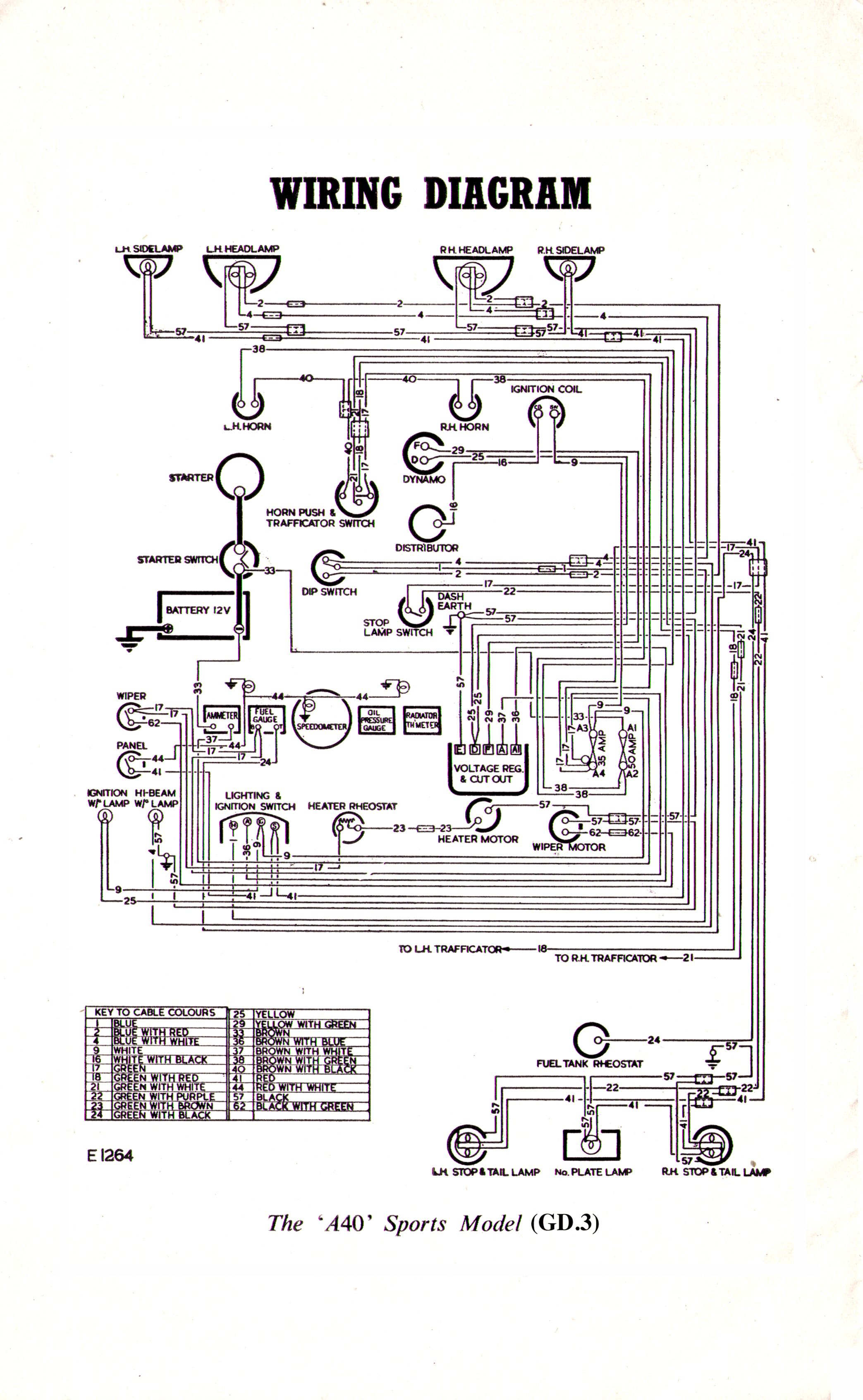 Austin A40 Sports GD3 - wiring diagram | Diagram, Wire ... on