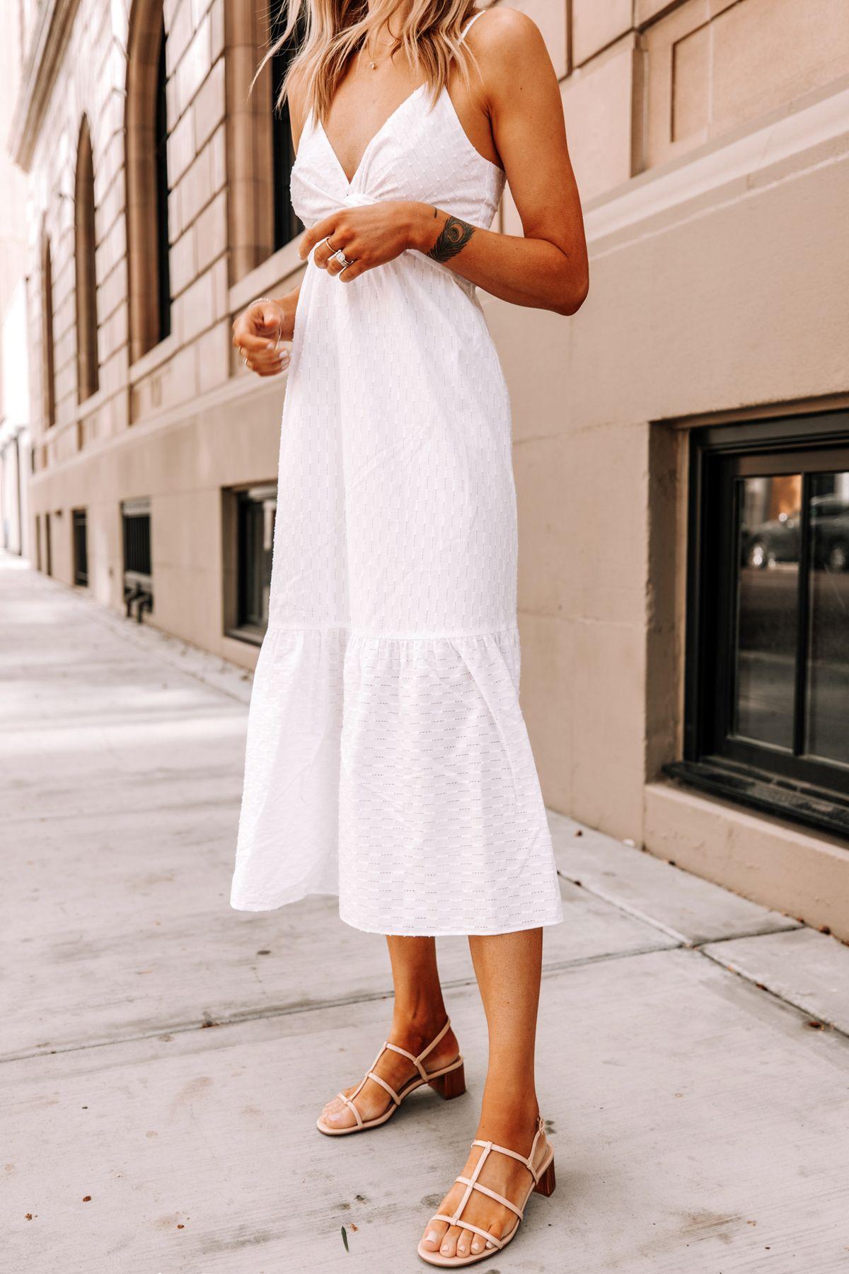 Fashion Jackson Wearing Banana Republic White Midi Dress Tan Sandals 1 Summer Dresses White Dress Summer Fashion [ 1800 x 1200 Pixel ]
