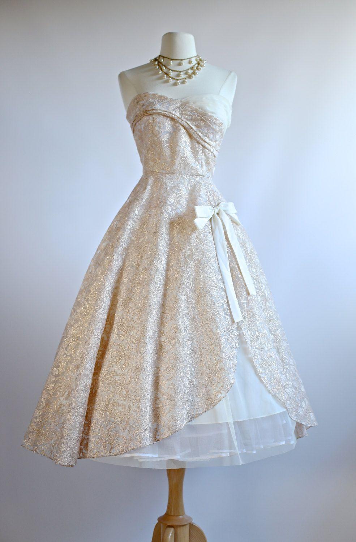 Xtabay Rose Waltz Wedding Dress 1950s Style Tea Length Gold And Ivory