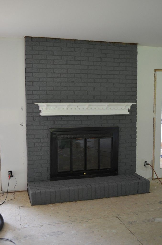 Painted Brick Fireplace Makeover Black