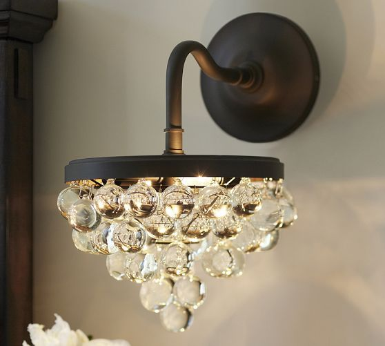 Bathroom Sconces Pottery Barn callia crystal sconce | pottery barn | for interior decorator