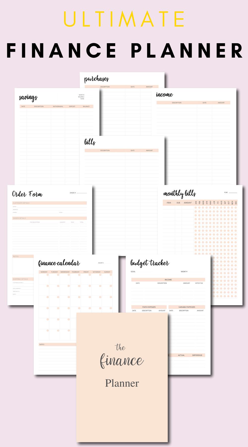 Finance Planner Bundle Printable, Budget Planner, Finance