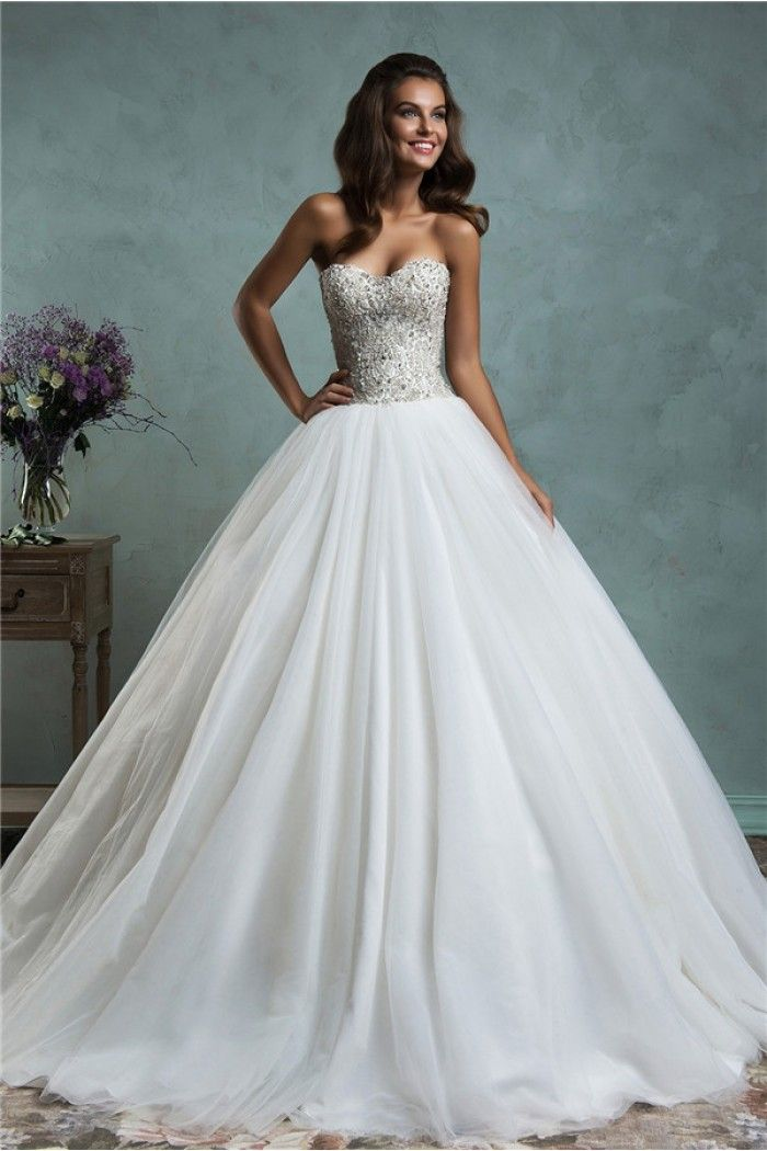 Fairy Ball Gown Strapless Puffy Tulle Crystal Beaded Wedding Dress ... fb5a598880cf