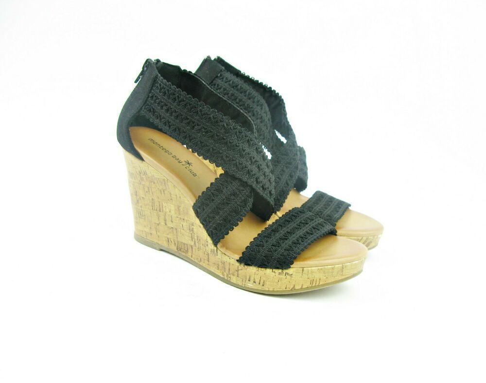 954e67d536 Montego Bay Club Black Braided Strap Sandals Wedge 4