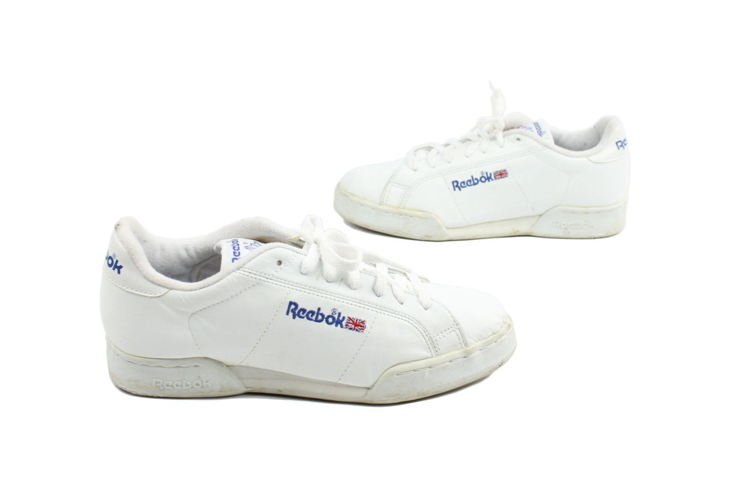 Vintage 80s REEBOK Shoes Mens Sneakers Kick Tennis Athletic Shoes 1980s  Size 8 White Leather
