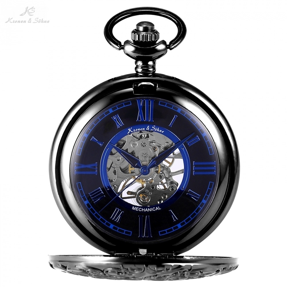 23.99$  Watch now - http://ali6lp.shopchina.info/go.php?t=32793448510 - KS Skeleton Roman Mechanical Black Blue Pocket Watch Mens Vintage Hollow Hand Winding Clock Pocket & Fobs Chain Watches /KSP072 23.99$ #buyonline