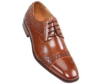 Steven Land Tan Lace Up Dress Shoe Cap Toe Oxford