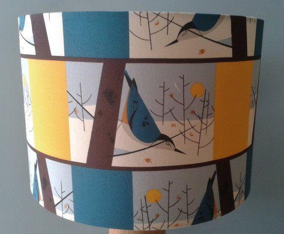 Charley Harper Blue Bird Fabric covered by Lightflightlighting