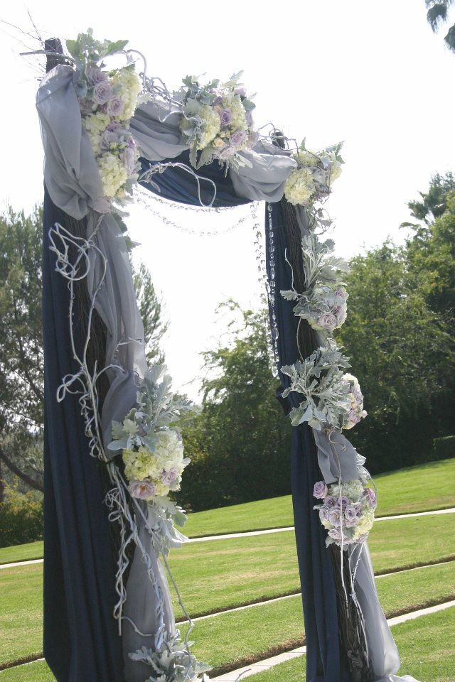 Navy Blue And Grey Wedding Arch Green Leaf Designs Navy Wedding