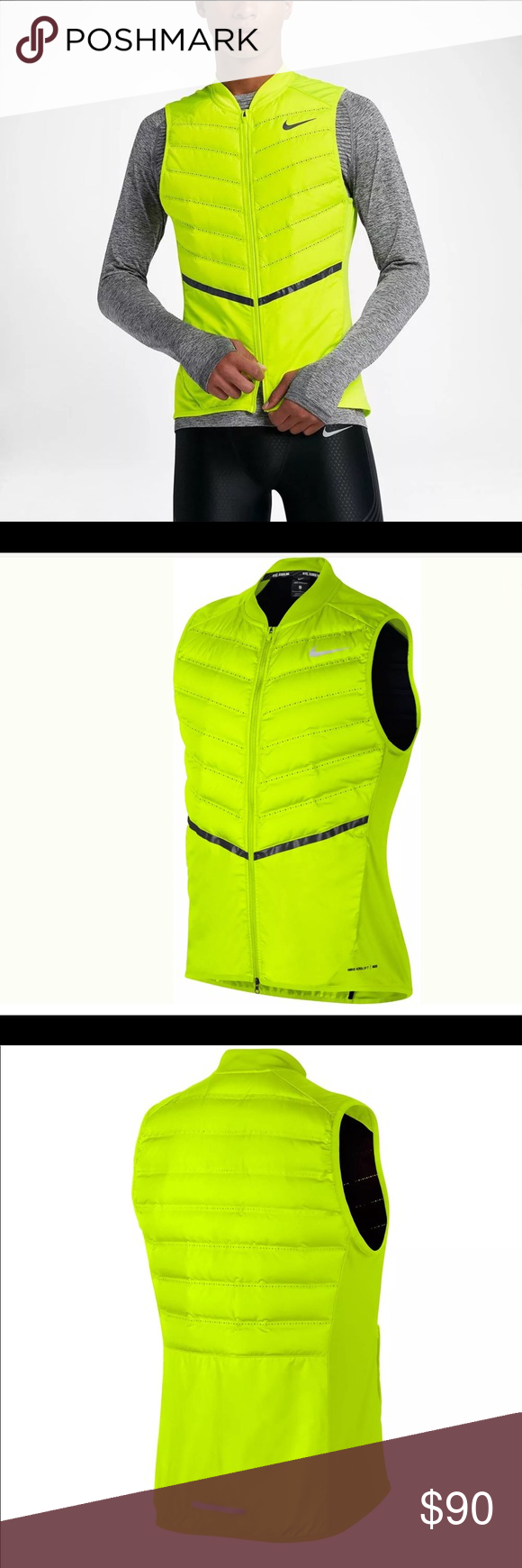 b5c0226db6af Nike Aeroloft Mens Running Vest Size Large Yellow Nike Aeroloft Mens  Running Vest Size Large Yellow NWT Goose Down Volt Style 800497 Lightweight  Ventilated ...