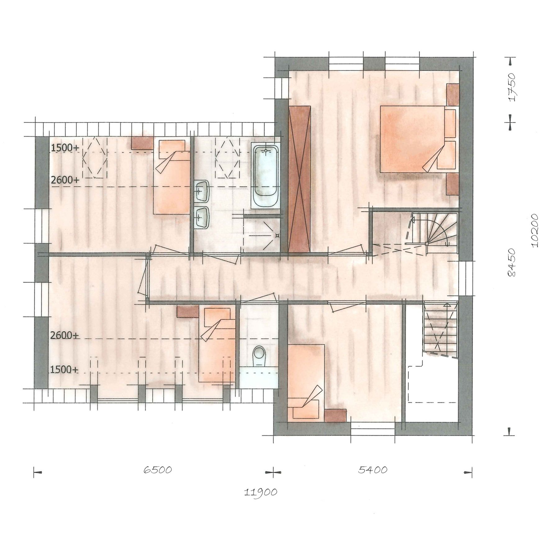 Villa kleine vuurvlinder plattegrond verdieping notaris for Plattegrond woning indeling