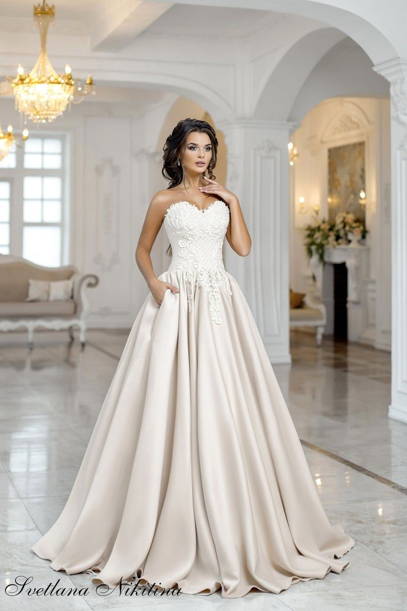 A Line Wedding Dress Lace Wedding Gown Satin Bridal Dress Etsy In 2020 Etsy Wedding Dress Satin Wedding Gown A Line Wedding Dress