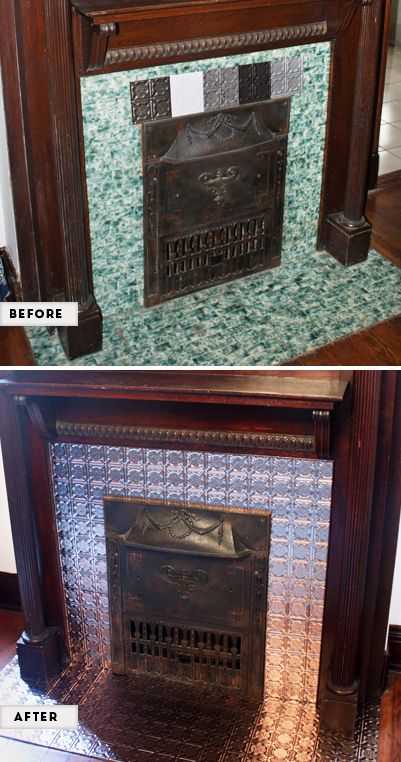 Diy Faux Tin Tile Fireplace Makeover At How About Orange