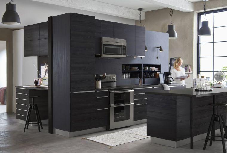 Photo de cuisine ikea noire du catalogue 2017
