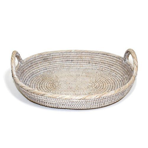 Exceptional White Washed Rattan Oval Tray W/Loop Handles   For Changing Pad Good Ideas
