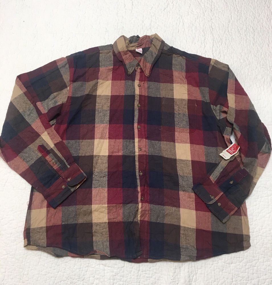 Flannel shirt plus size  Open Trails mens NWT plaid flannel button front long sleeve plus