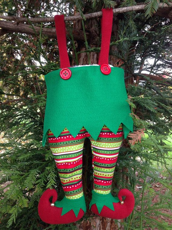 Whimsical Elf Trouser Pants Christmas Stocking by
