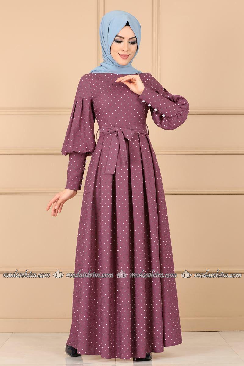 Puantiyeli Pileli Elbise 8962w153 Gul Kurusu Moda Selvim 8962w153 Elbise Gul Kurusu Moda Pil Pakaian Wanita Model Baju Wanita Model Pakaian Muslim
