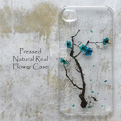 YHL Real Blue Plum Pressed Flower Bling Hard Skin Case Cover For Samsung iPhone