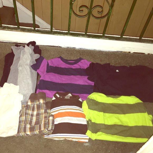 Boys 5-6 Clothes Lot 3 gray tank tops, 3 black tank tops, 3 stripped tops, black tee, beige/light khaki cargos, plaid shorts Other