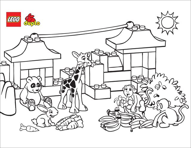 Lego Zoo Coloring Page Free Printable Pages Animal Coloring