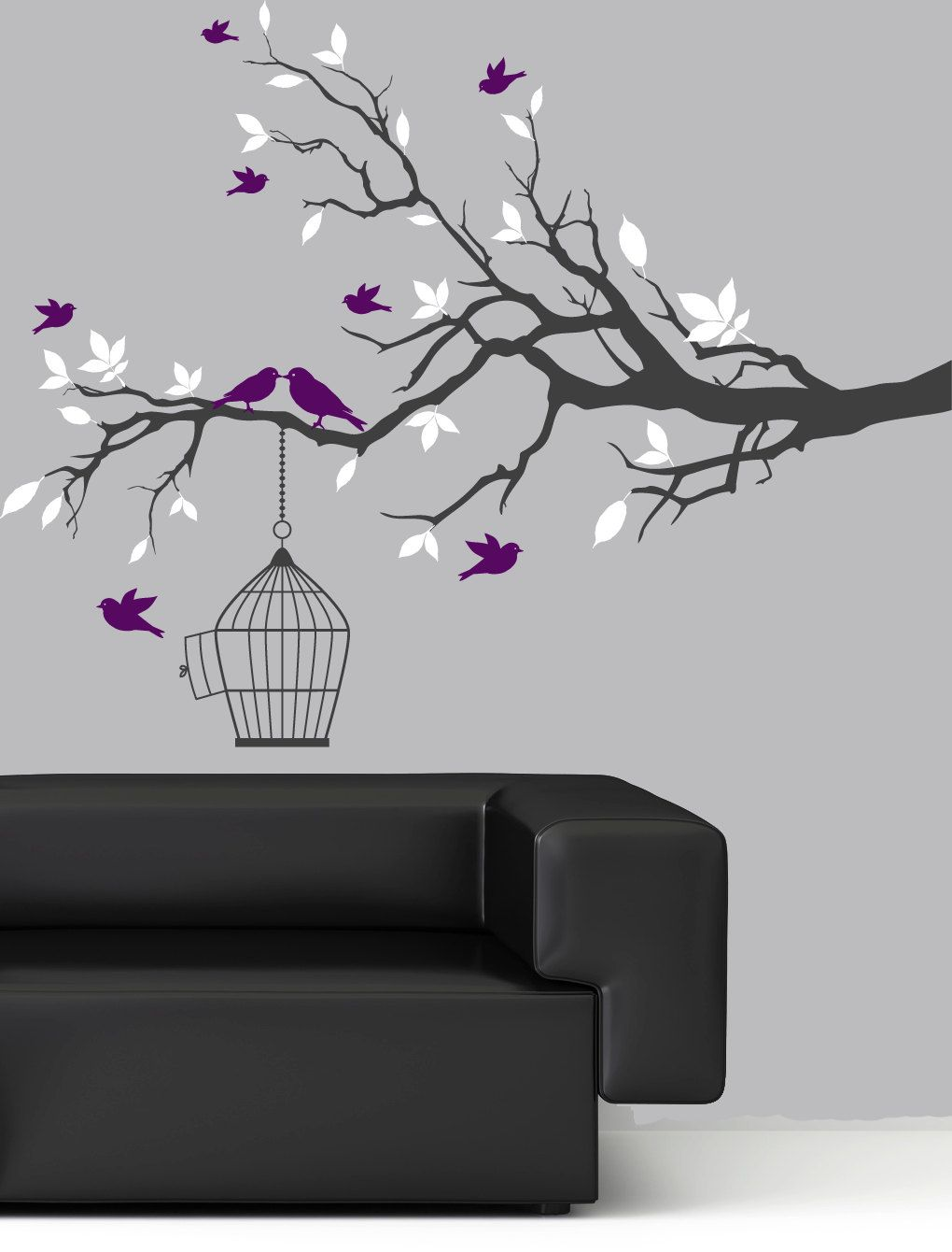 Wall Decal Tree Branch Wall Art Sticker Purple Birds White Leaf - Vinyl decals for walls etsy