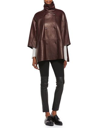 Double-Breasted Leather Cape, Directional Ribbed Cashmere Sweater & Mixed Media Leather Leggings by Vince at Bergdorf Goodman.