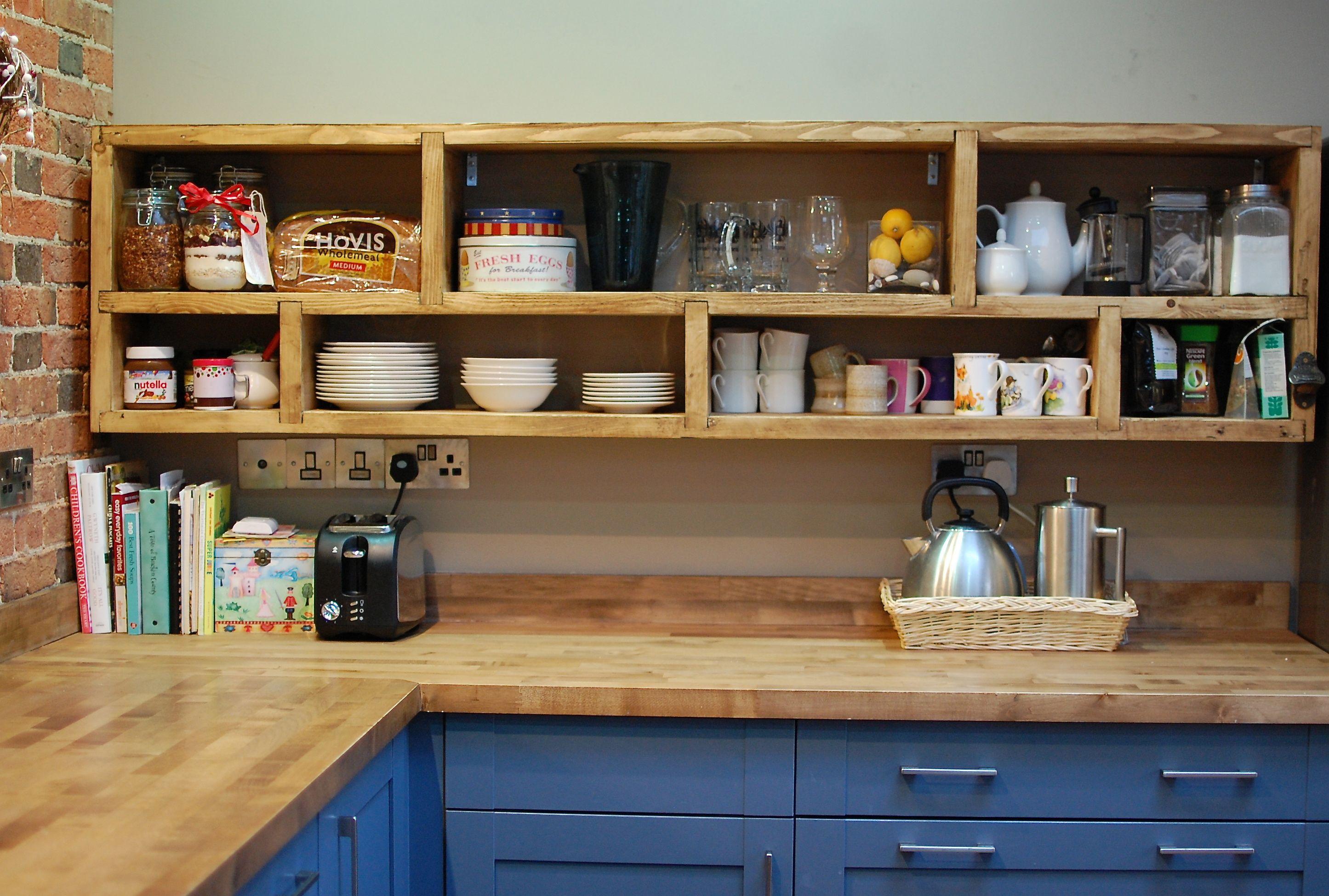 Open Shelf made from reclaimed scaffolding boards. http