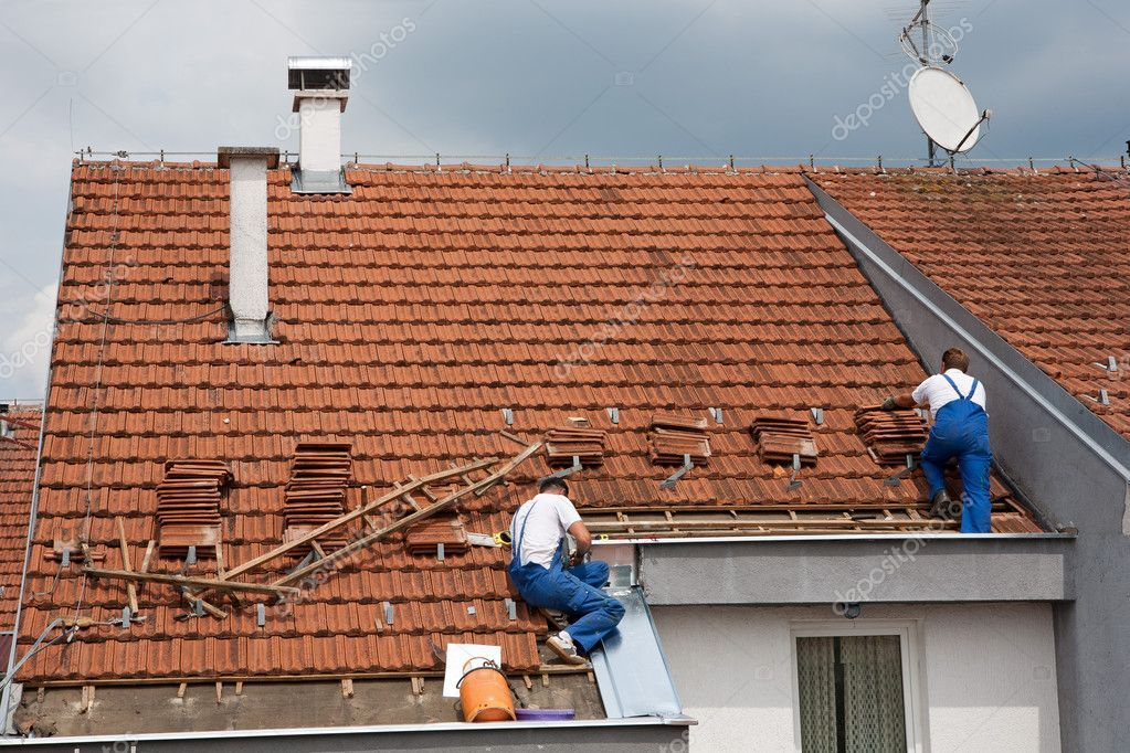Two Men Working On The Roof Stock Photo Ad Working Men Roof Photo Ad Residential Roofing Roof Installation Roofing