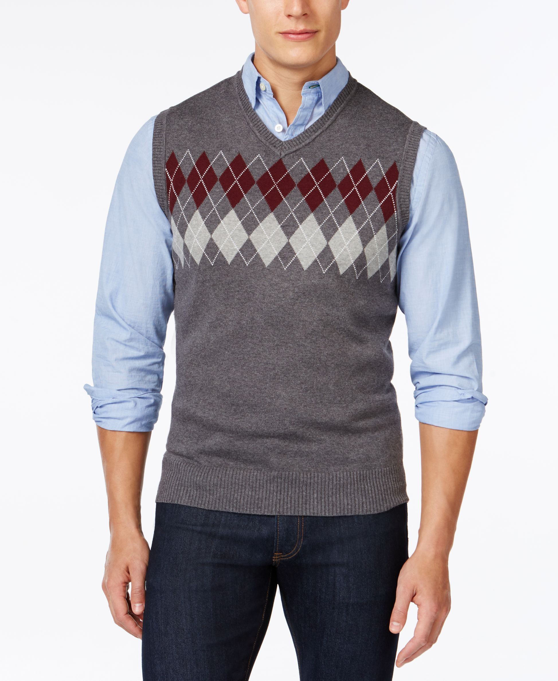 Club Room Big and Tall Argyle Sweater Vest, Only at Macy's | moda ...