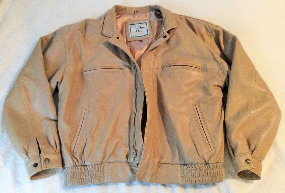 Vintage Christian Dior Le Connaisseur Tan Leather Bomber Jacket ...
