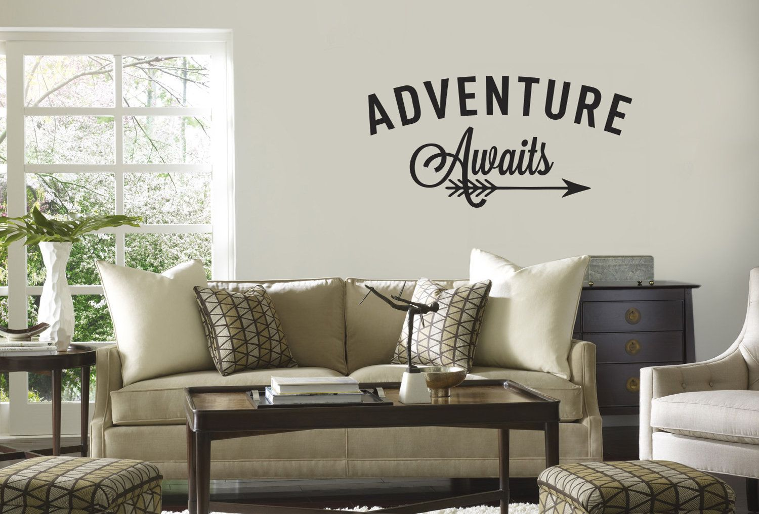 Wall decal quote adventure awaits arrow vinyl wall decal travel