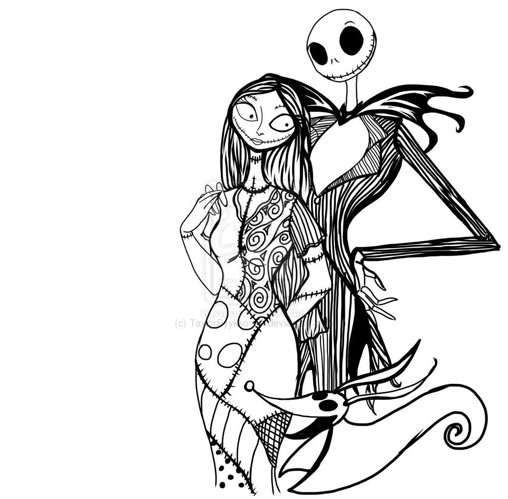 pix for u003e jack and sally nightmare before christmas coloring pages