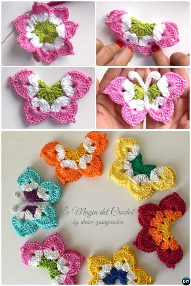 20 Crochet Butterfly Free Patterns [Picture Instructions] | Magia ...