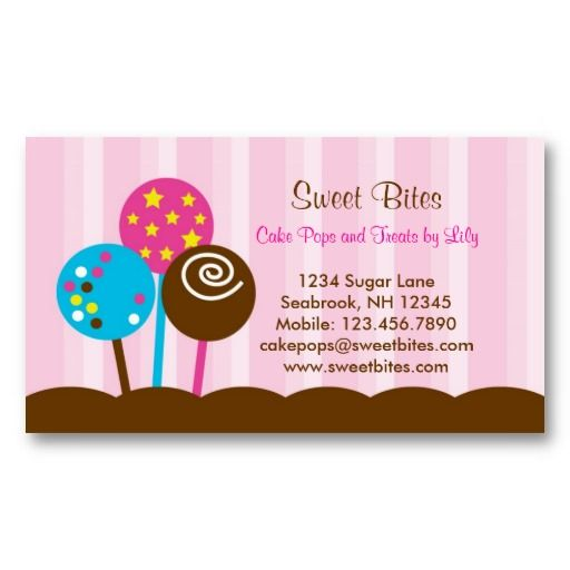 Cake pops bakery business card bakery business cards bakery cake pops bakery business card reheart Images