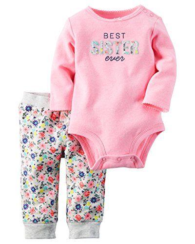 c20affbd0 CARTER'S Baby Girls Bodysuit Pant Sets, Color FLORAL, Size 12 MONTHS (12M)