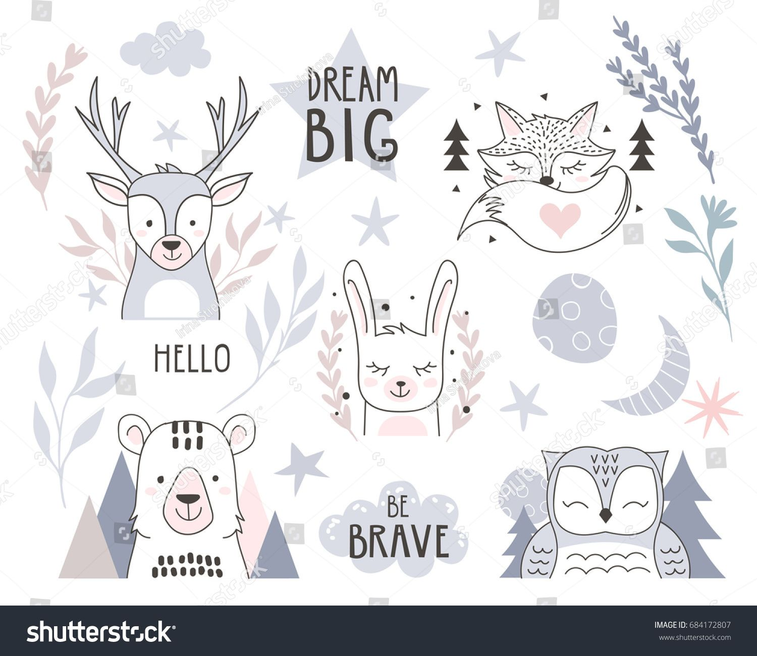 Scandinavian Style Design Element For Nursery Forest Animals Collection With Lettering Element Vect Forest Animals Illustration Animal Doodles Forest Animals