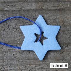 Helle Gram - Keramik julepynt farvede stjerner, 3 stk (blå)
