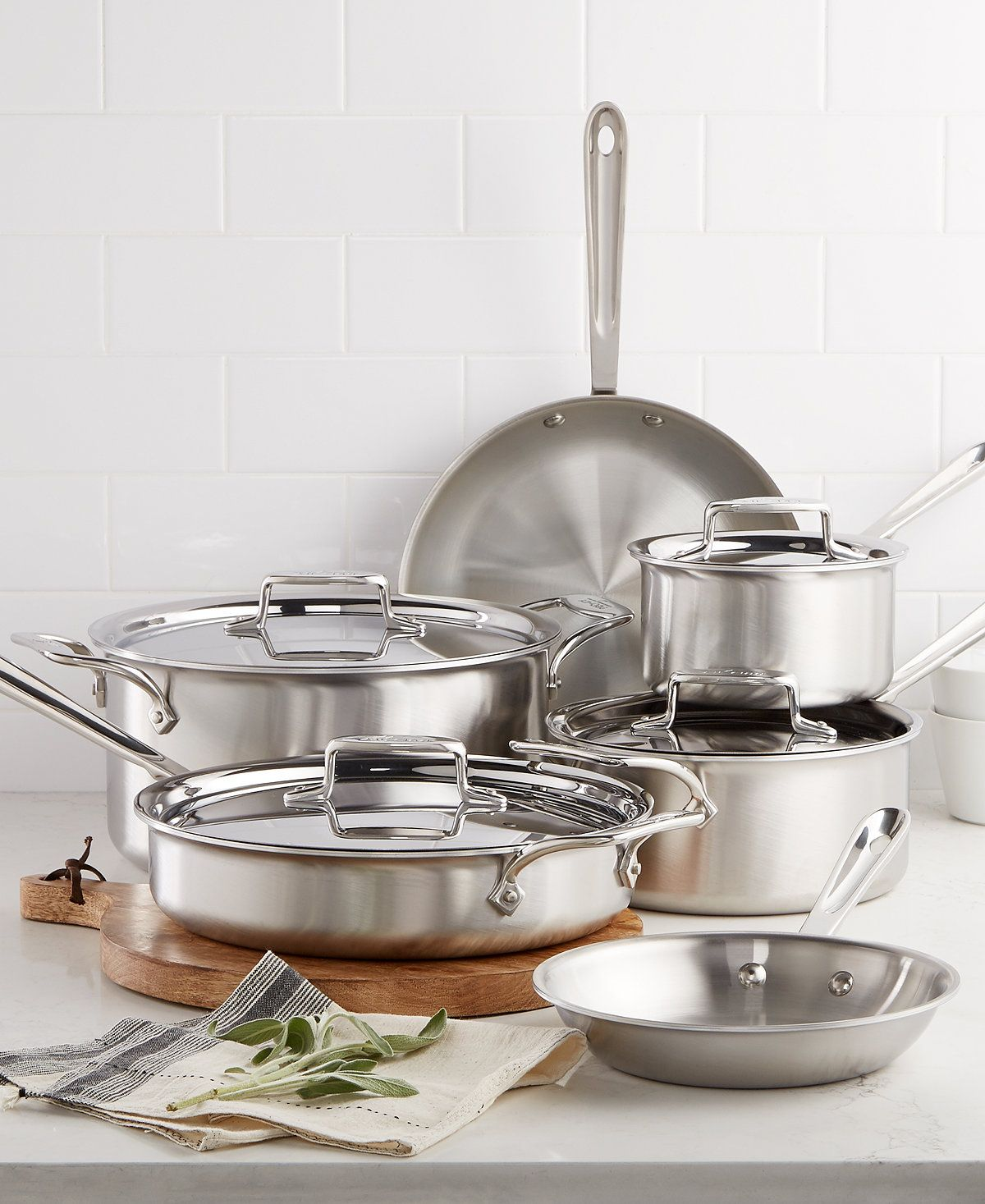 All Clad D5 Brushed Stainless Steel 10 Pc Cookware Set Cookware Cookware Sets Kitchen Cookware Set Brushed Stainless Steel Cookware Set Stainless Steel All clad d5 10 piece set
