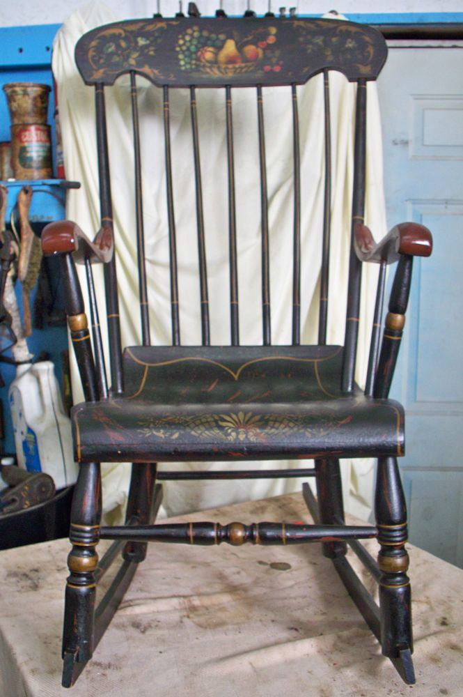 Vintage hitchcock style black paint decorated rocker / rocking chair - 43